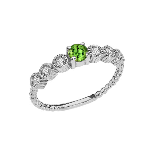 Diamond and Peridot White Gold Stackable/Promise Beaded Popcorn Collection Ring