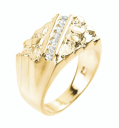 Yellow Gold Cubic Zirconia Signet Nugget Men's Ring