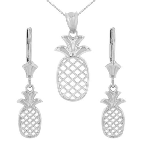 14K Solid White Gold Pineapple Pendant Earring Set