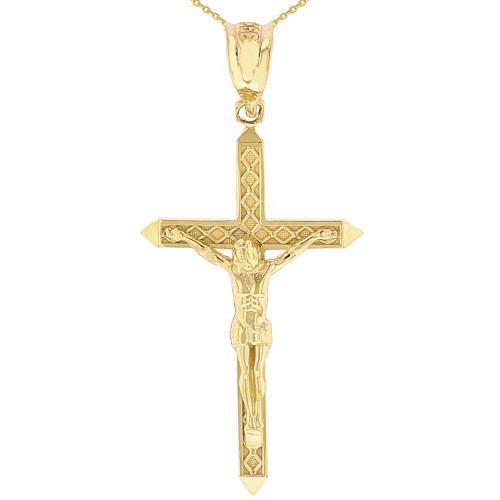"""Solid Yellow Gold Passion Cross Crucifix Pendant Necklace 1.63""""( 41 mm)"""