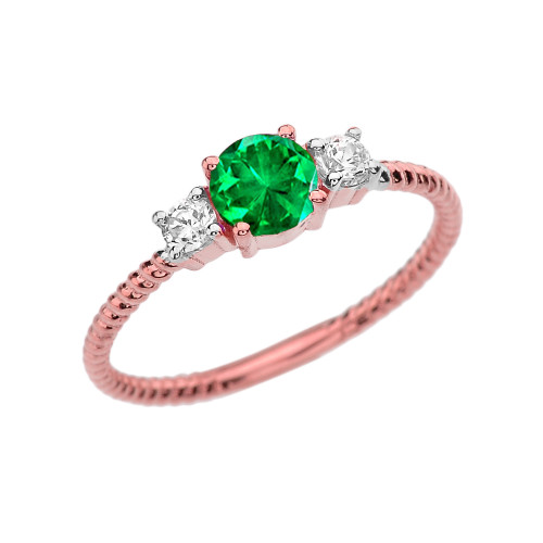 Dainty Rose Gold Emerald and White Topaz Rope Design Engagement/Promise Ring