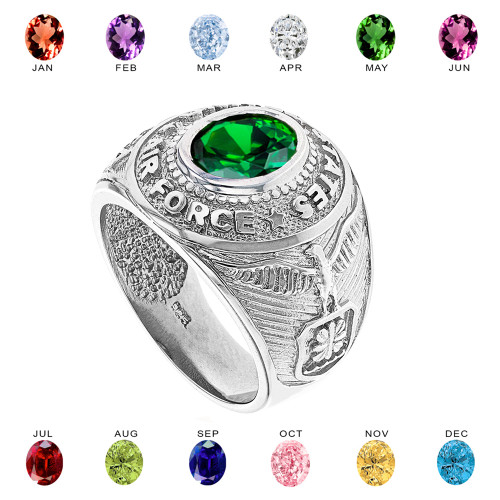 Solid White Gold United States Air Force Men's CZ Birthstone Ring