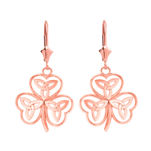 14K Solid Rose Gold Solid Yellow Gold Celtic Trinity Knot Shamrock Drop Earring Set