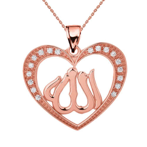 Rose Gold Diamond Heart with Allah Pendant Necklace