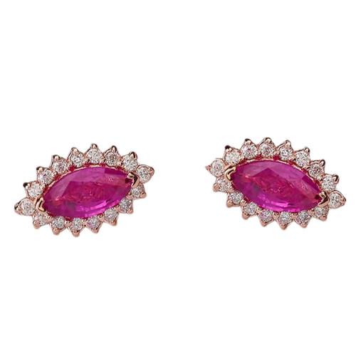 Diamond And Genuine Ruby Rose Gold Elegant Studs