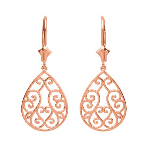 14K Solid Rose Gold Filigree Swirl Heart Teardrop Drop Earring Set
