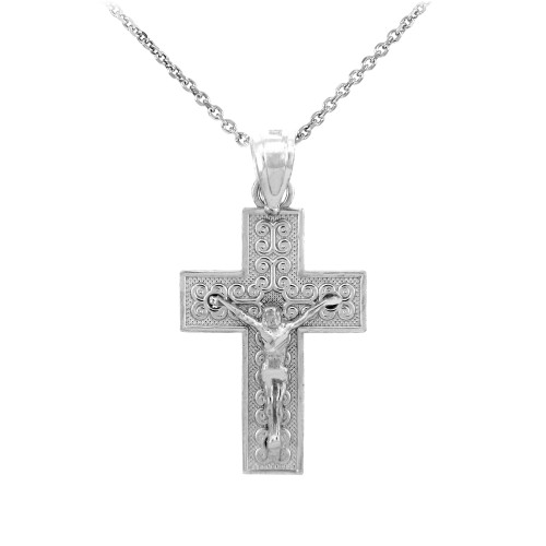 Sterling Silver Crucifix Pendant Necklace- The Adoration Crucifix