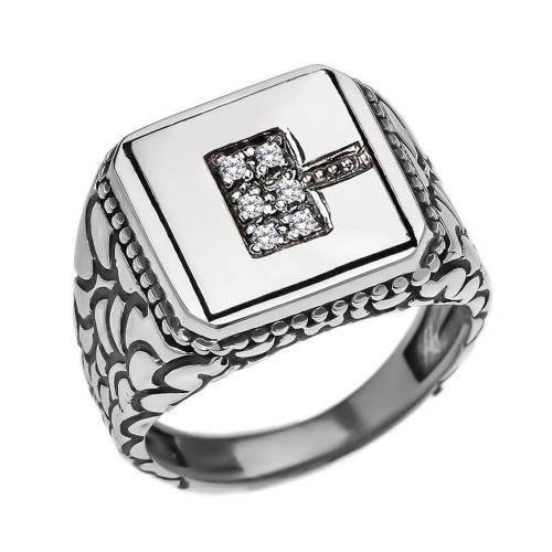 "Sterling Silver Men's Initial ""C"" Ring"
