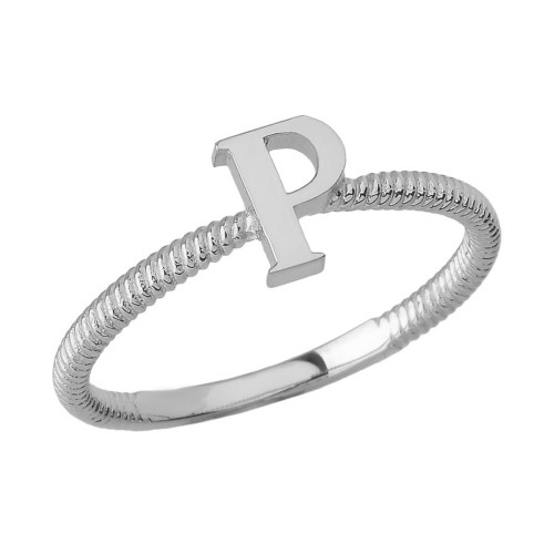 Sterling Silver Alphabet Initial Letter P Stackable Ring