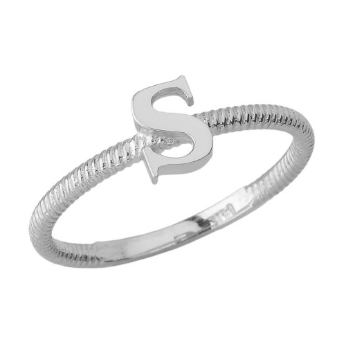 Sterling Silver Alphabet Initial Letter S Stackable Ring