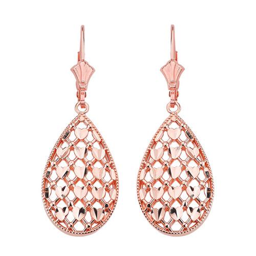 14K Solid Rose Gold Double Layered Woven Hearts Filigree Teardrop Shape Drop Earring Set