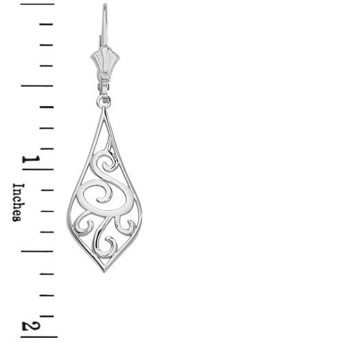 """14K Solid White Gold Teardrop Filigree Tribal  Drop Earring Set 1.67"""" (42 mm)"""