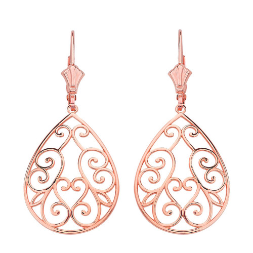 "14K Solid Rose Gold Filigree Swirl Heart Teardrop Drop Earring Set 1.71"" (43 mm)"