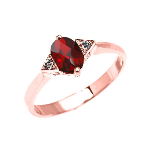 Rose Gold Solitaire Oval Genuine Garnet and White Topaz Engagement/Promise Ring