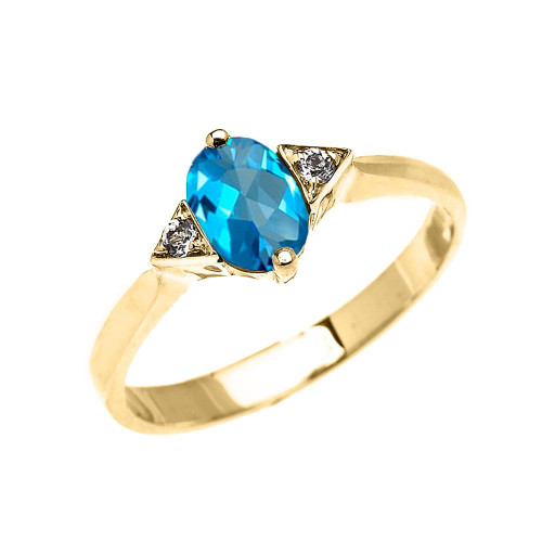 Yellow Gold Solitaire Oval Genuine Blue Topaz and White Topaz Engagement/Promise Ring