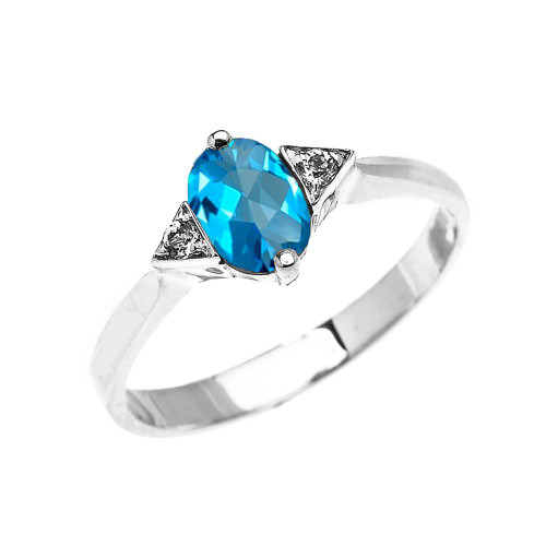 White Gold Solitaire Oval Genuine Blue Topaz and White Topaz Engagement/Promise Ring