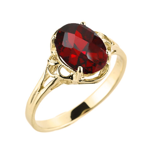 Yellow Gold Genuine Garnet Gemstone Ring