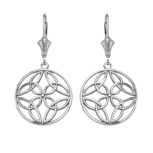 14K Solid White Gold Triquetra Trinity Celtic Knot Circle Drop Earring Set  (Small)