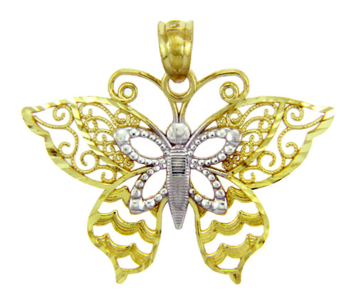 Two-Tone Gold Butterfly Charm