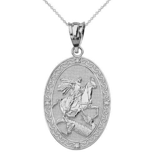 Solid White Gold Saint George and the Dragon Oval Engravable Medallion Diamond Prayer Pendant Necklace (Large)