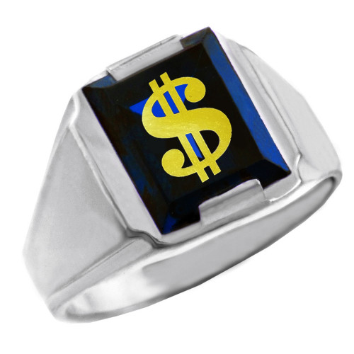 Sterling Silver Blue CZ Stone Dollar Sign Signet Men's Ring