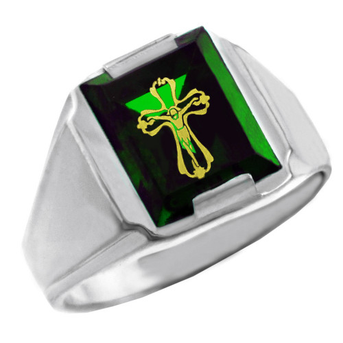Solid White Gold Green CZ Stone Crucifix Signet Men's Ring