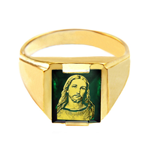 Mens 10k Yellow Gold Green Stone Square and Jesus Face Ring