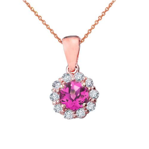 14k Rose Gold Dainty Floral Diamond Center Stone Alexandrite (LCAL) Pendant Necklace