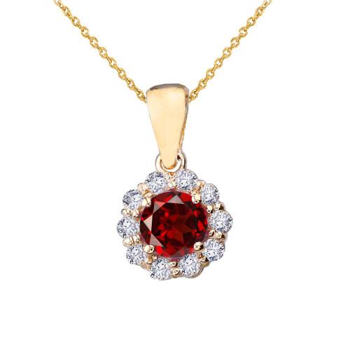14k Yellow Gold Dainty Floral Diamond Center Stone Garnet Pendant Necklace
