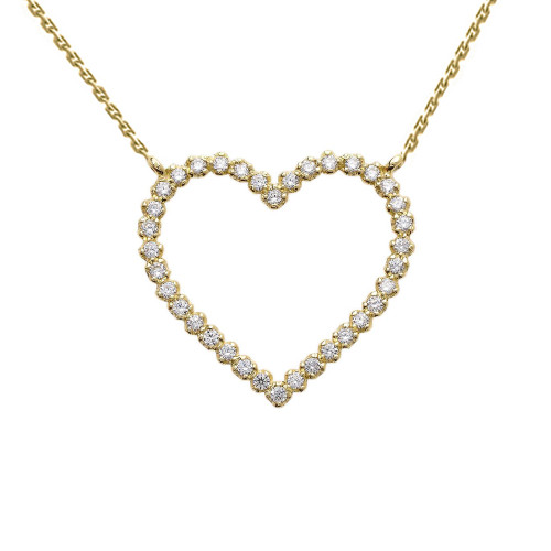 Two-Sided Statement Diamond & Beaded Heart Necklace in 14k Yellow Gold