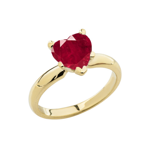 Yellow Gold Solitaire  Ruby (LCR) Heart Engagement Ring