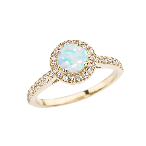 Yellow Gold Diamond and Opal (LCOP) Engagement/Proposal Ring