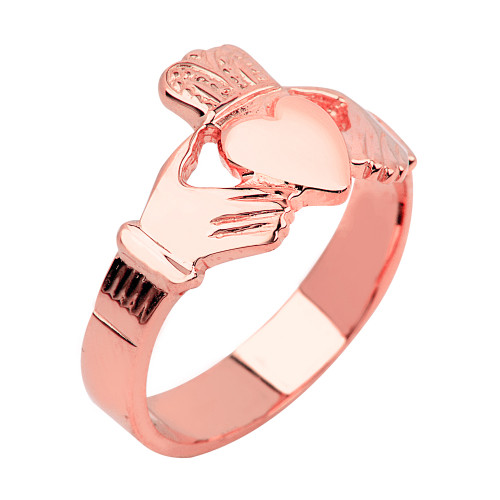 Rose Gold Claddagh Ring Mens Solid