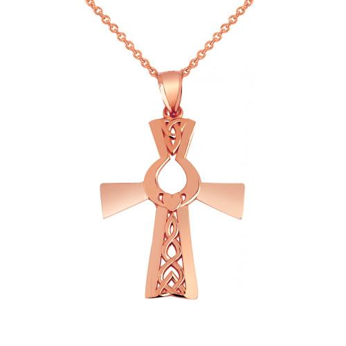 Rose Gold Irish Claddagh Cross Pendant Necklace r
