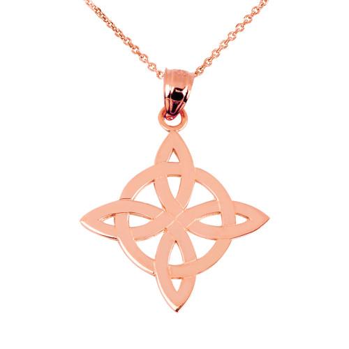 Rose Gold Irish Celtic Trinity Pendant Necklace