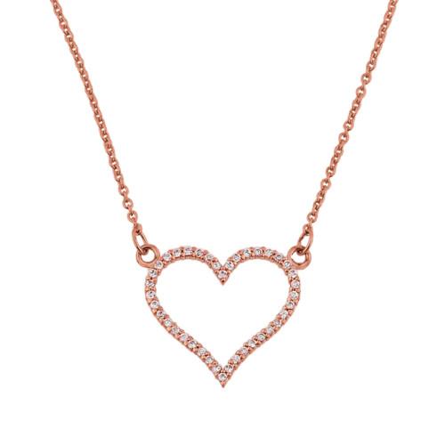 14K Rose Gold Cubic Zirconia Open Heart Necklace
