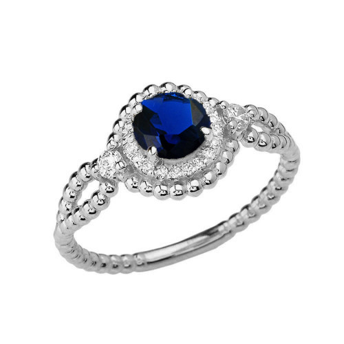 Diamond Engagement Ring White Gold Rope Double Infinity Center Sapphire (LCS)