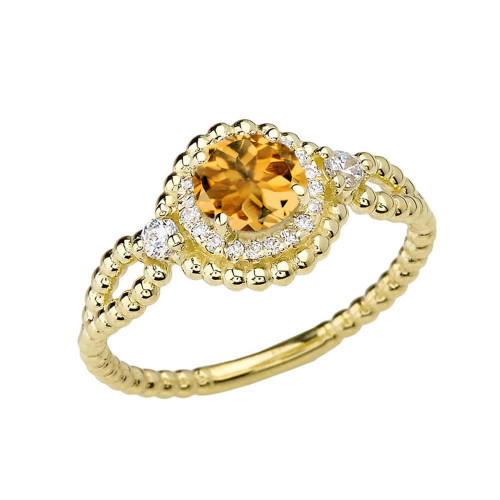 Diamond Engagement Ring Yellow Gold Rope Double Infinity Center Citrine