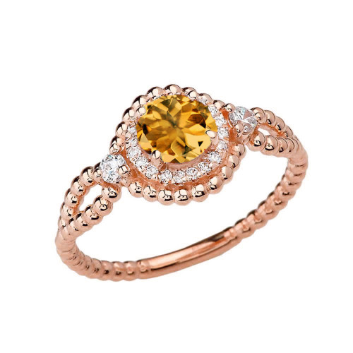 Diamond Engagement Ring Rose  Gold Rope Double Infinity Center Citrine