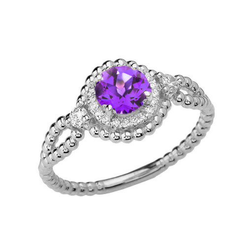 Diamond Engagement Ring White Gold Rope Double Infinity Center Amethyst