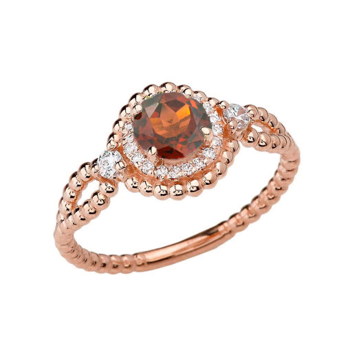 Diamond Engagement Ring Rose Gold Rope Double Infinity Center Garnet