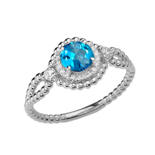 Diamond Engagement Ring White Gold Rope Double Infinity Center Blue Topaz