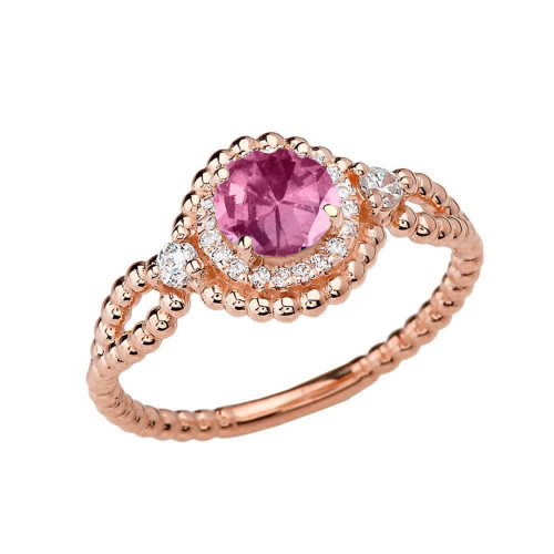 Diamond Engagement Ring Rose Gold Rope Double Infinity Center Alexandrite