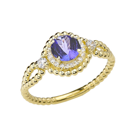 Diamond Engagement Ring Yellow Gold Rope Double Infinity Center Tanzanite