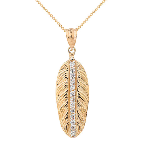 Solid Yellow Gold Cubic Zirconia Boho Feather Pendant Necklace (Large)