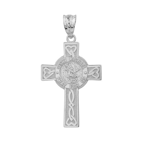 St Saint Michael Pray For Us Pendant hung on 925 Sterling Silver Necklace Chain
