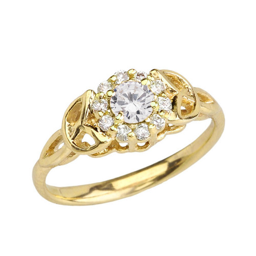 Yellow Gold CZ Engagement/Promise Ring