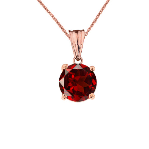 10K Rose Gold January Birthstone Garnet (LCG) Pendant Necklace