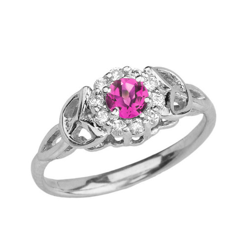 White Gold  Diamond and Alexandrite (LCAL) Engagement/Promise Ring