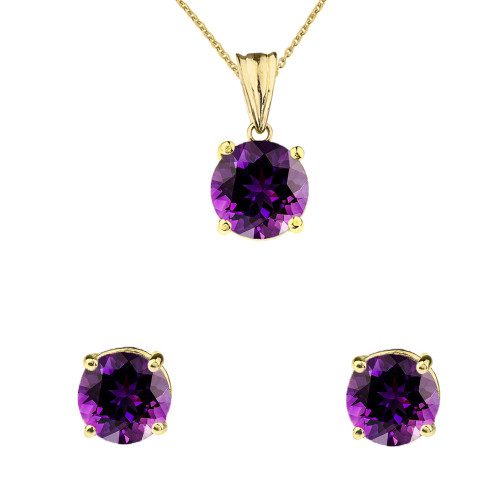 10K Yellow Gold February Birthstone Amethyst (LCAM) Pendant Necklace & Earring Set